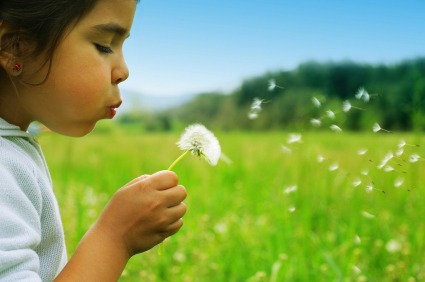 Photograph of a young girl blowing seeds off a flower | NLP World.