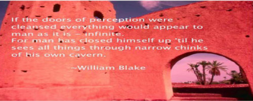 """red wall William blake quote written on it, """"If the doors of perception were cleansed every thing would appear to man as it is, Infinite. For man has closed himself up, till he sees all things thro' narrow chinks of his cavern"""""""